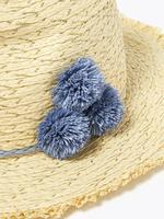 Çocuk Multi Renk Ponponlu Hasır Şapka