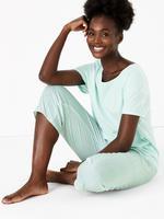 Kadın Yeşil Saf Pamuklu Crop Pijama Takımı