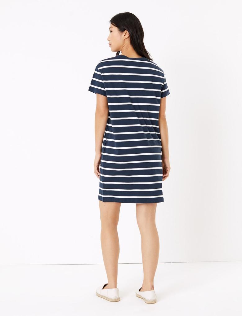 Kadın Lacivert Çizgili Mini Elbise