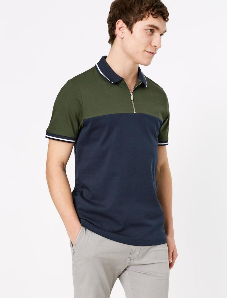 Lacivert Yarım Fermuarlı Polo Yaka T-Shirt