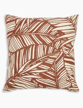 Ev Kahverengi Yaprak Desenli Dekoratif Yastık