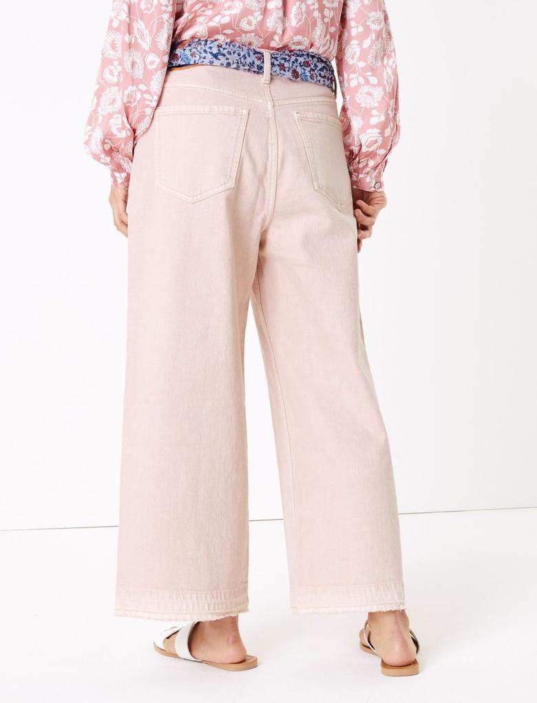 Kadın Pembe Şal Bağlamalı Yüksek Bel Wide Leg Pantolon