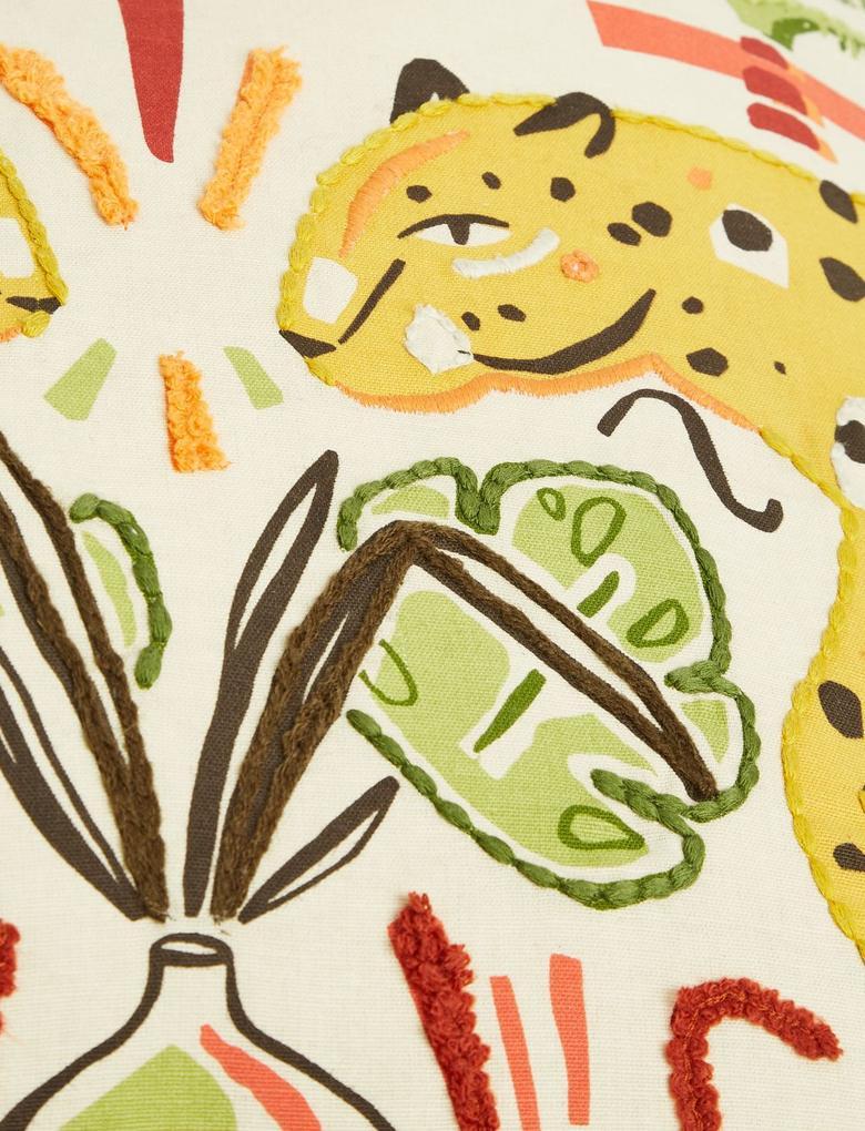 Ev Turuncu Leopar İşlemeli Dekoratif Yastık