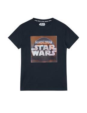 Erkek Çocuk Lacivert Yoda Desenli Kısa Kollu T-Shirt