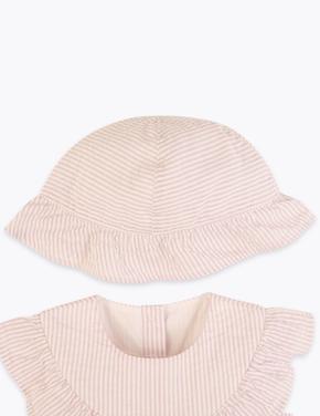 Bebek Mor Çizgili Pamuklu Elbise