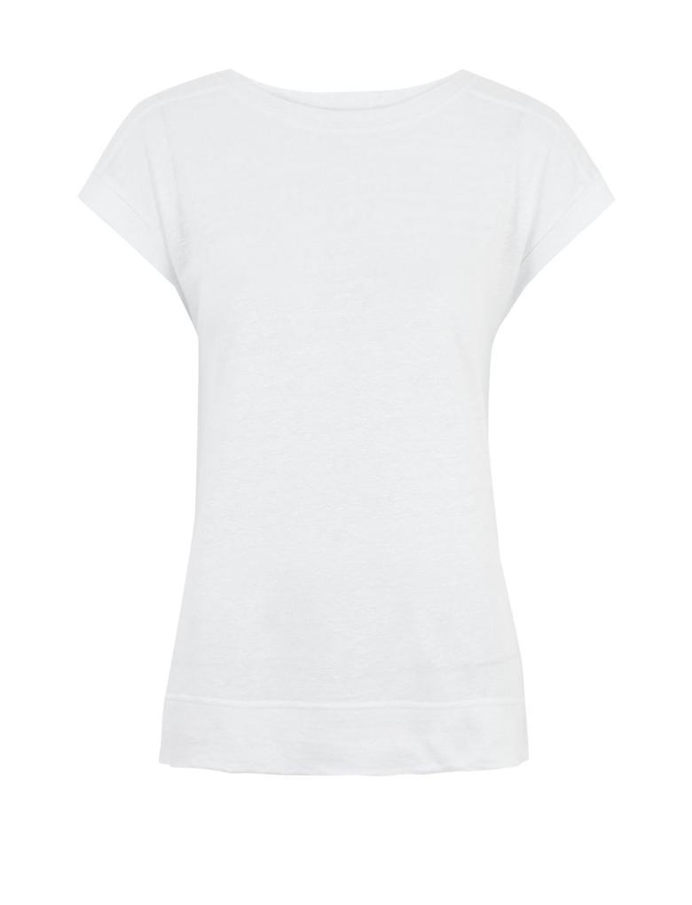 Beyaz Keten Kısa Kollu T-Shirt