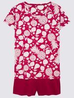 Kadın Kırmızı Ananas Desenli Pijama Takımı