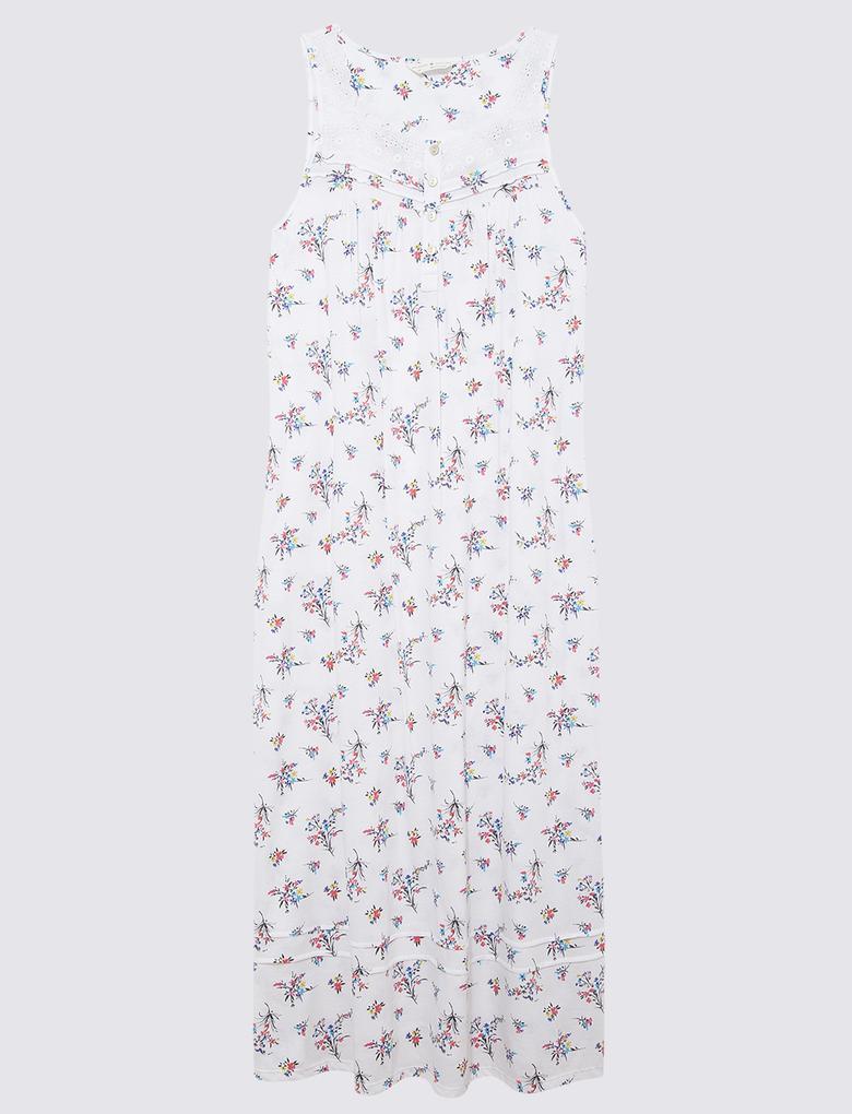 Kadın Beyaz Çiçek Desenli Gecelik