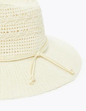 Kadın Bej Pamuklu Fötr Şapka