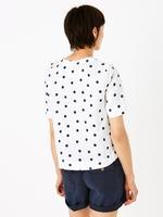Kadın Beyaz Puantiyeli Keten Bluz