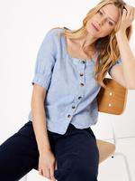 Kadın Mavi Kare Yaka Keten Bluz