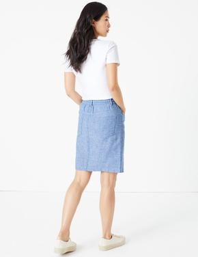 Kadın Mavi Keten Mini Etek
