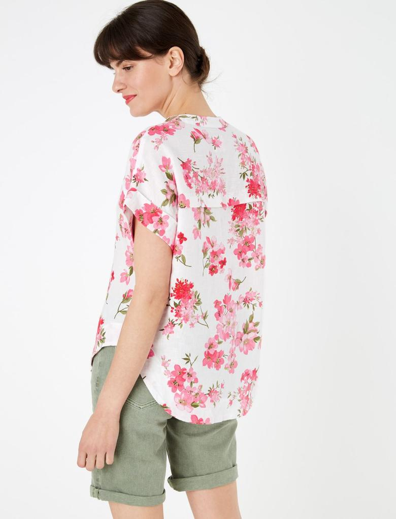 Kadın Pembe Çiçek Desenli Keten Bluz