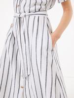 Kadın Beyaz Çizgili Keten Midi Gömlek Elbise