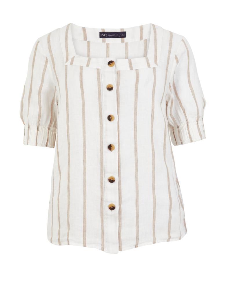 Kadın Bej Çizgili Kare Yakalı Keten Bluz