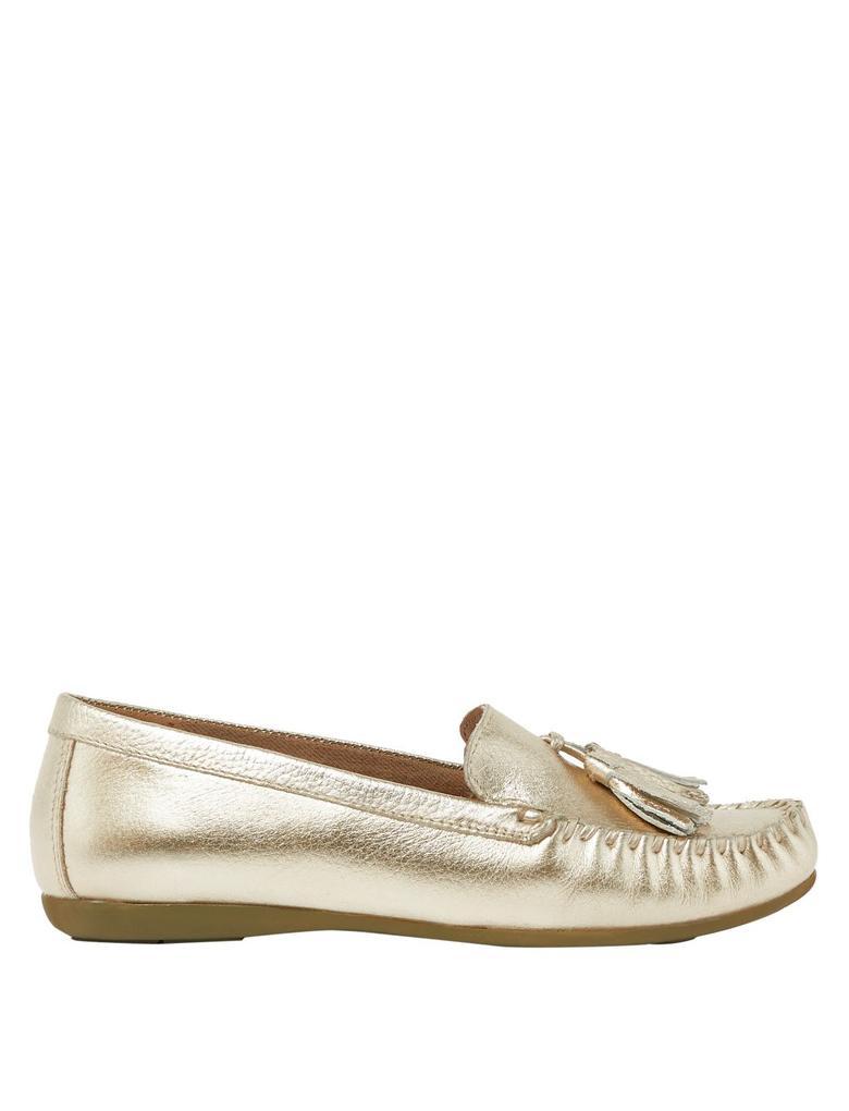 Kadın Sarı Püskül Detaylı Süet Loafer Ayakkabı