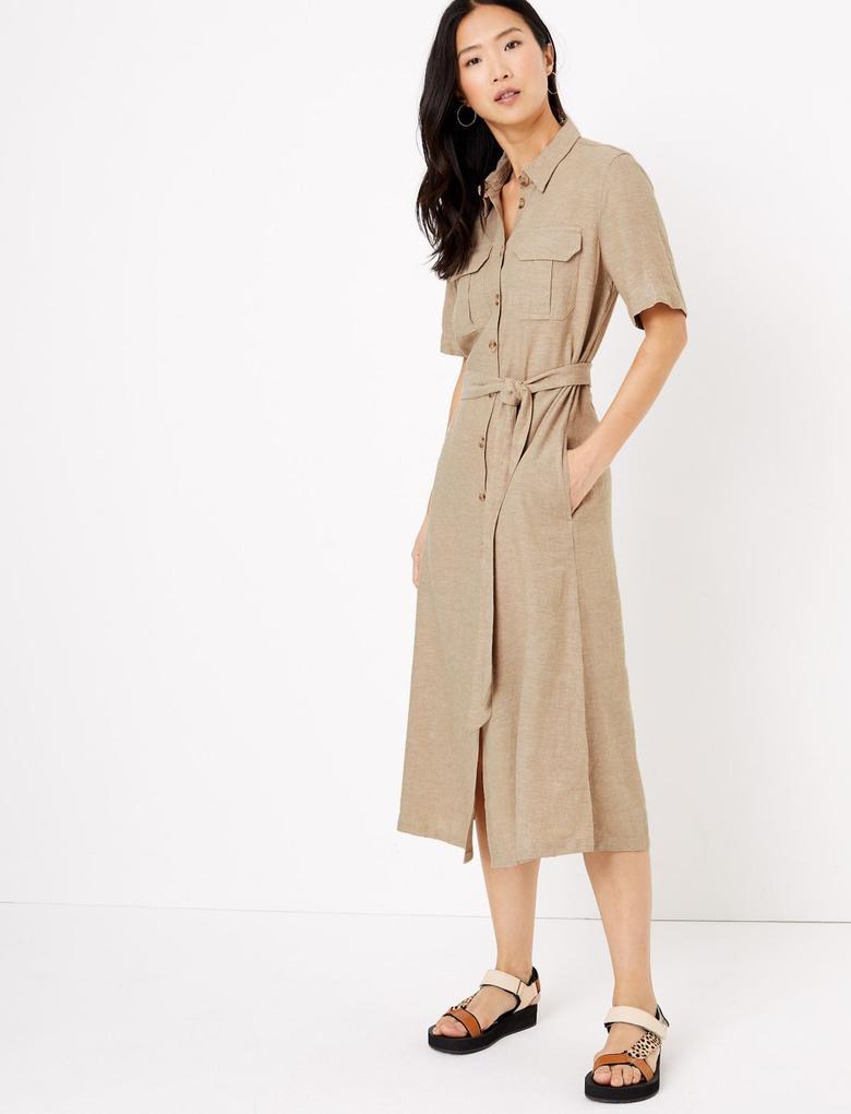 Kadın Bej Keten Midi Gömlek Elbise