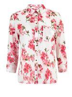 Kadın Beyaz Çiçek Desenli Keten Gömlek