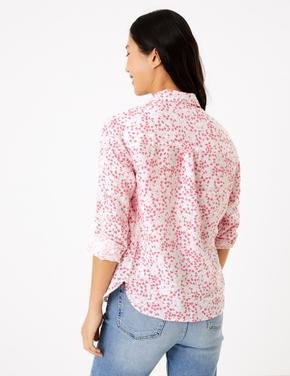 Kadın Pembe Çiçek Desenli Keten Gömlek