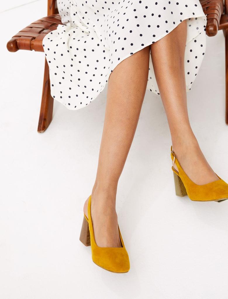 Kadın Sarı Kare Burunlu Süet Topuklu Ayakkabı