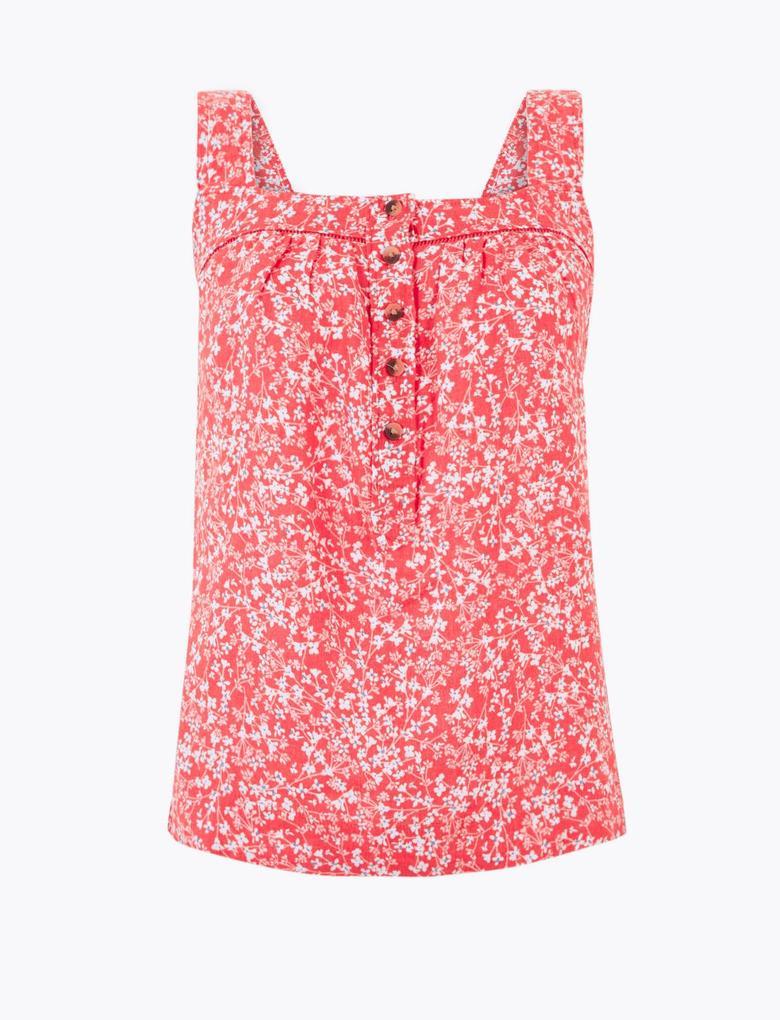 Kadın Pembe Çiçek Desenli Keten Kamisol Bluz