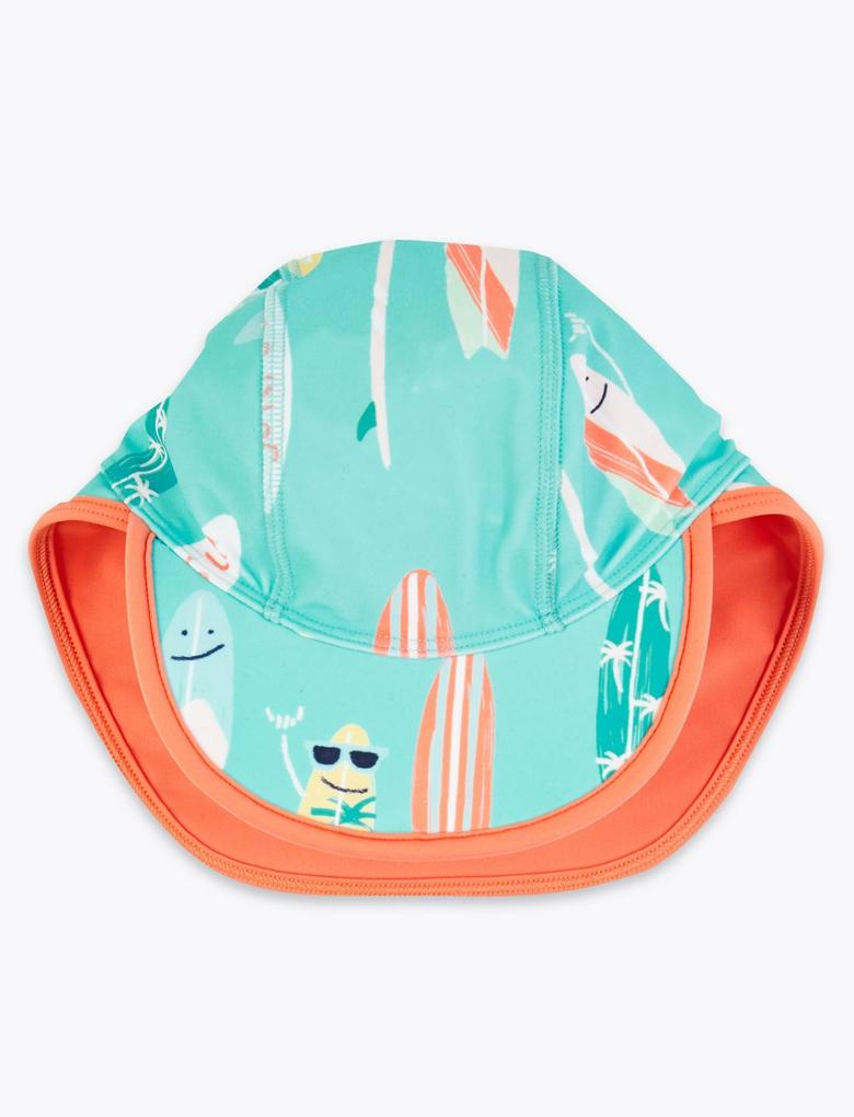 Erkek Çocuk Lacivert Sörf Desenli Mayo ve Şapka Takımı