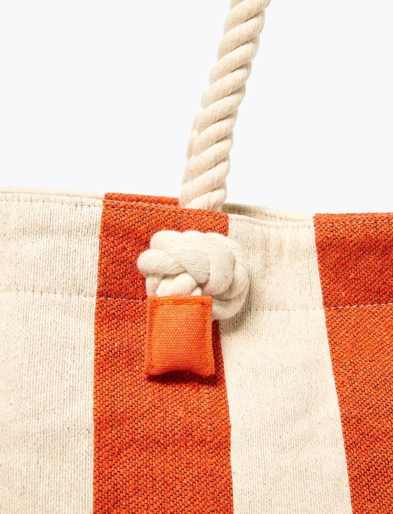 Kadın Turuncu Çizgili Shopper Çanta
