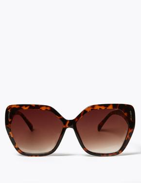 Kadın Turuncu Retro Kare Güneş Gözlüğü