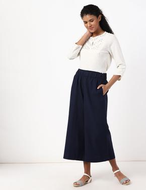 Kadın Lacivert Wide Leg Crop Pantolon