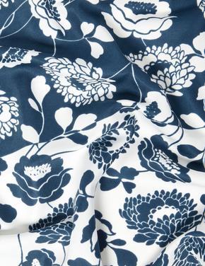 Kadın Lacivert Çiçek Desenli Fular