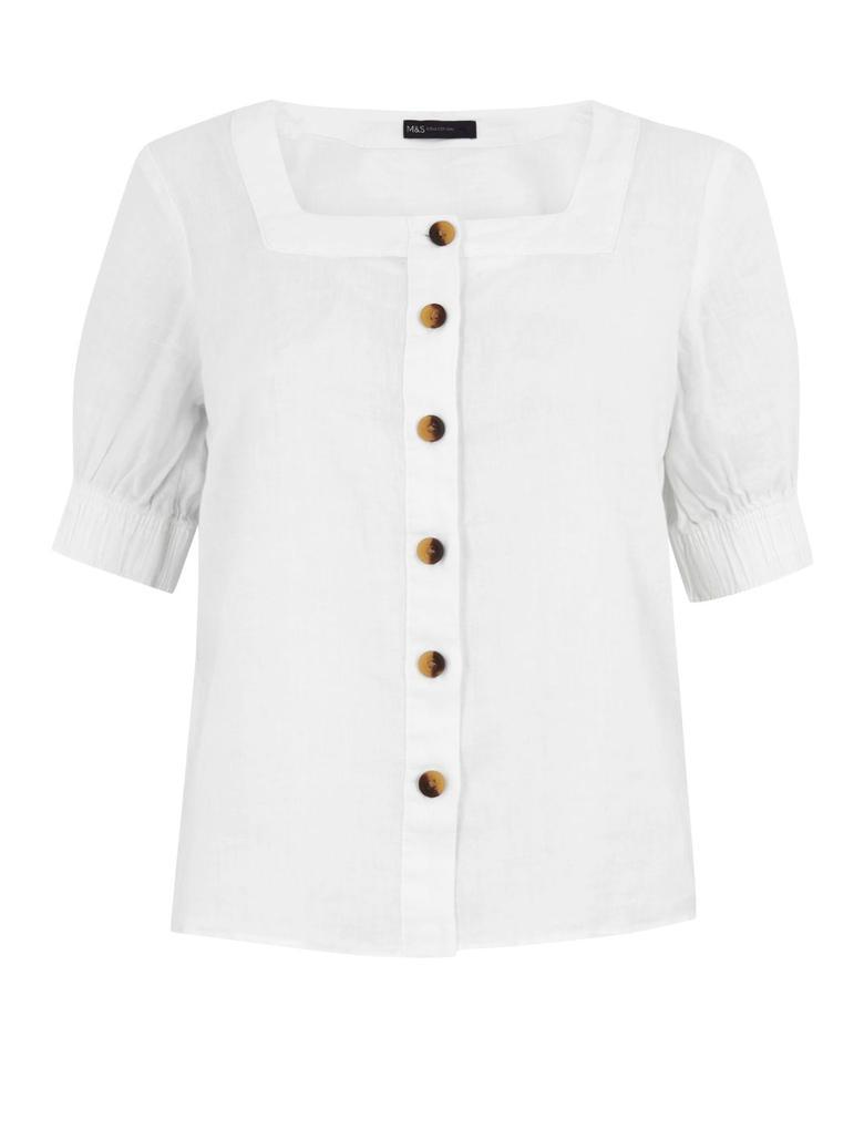 Kadın Beyaz Kare Yaka Keten Bluz