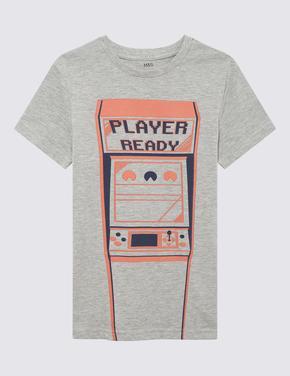 Erkek Çocuk Lacivert Desenli Kısa Kollu T-Shirt