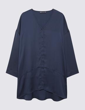 Kadın Lacivert Saten Tunik Bluz