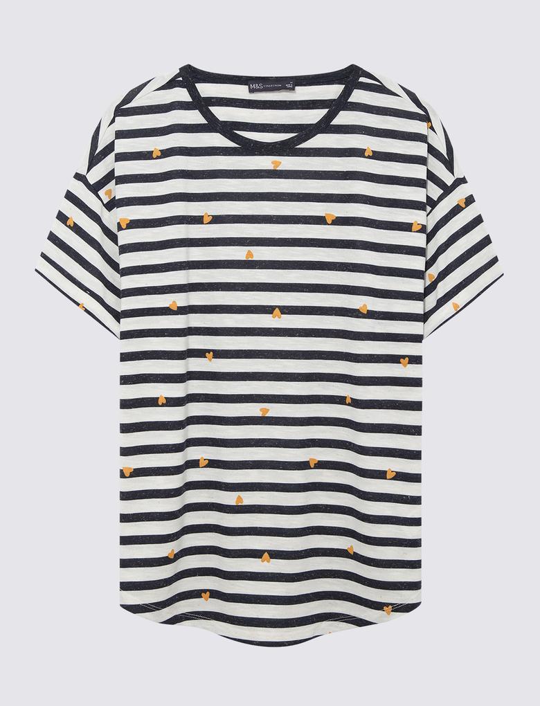 Kadın Lacivert Çizgili Kısa Kollu T-Shirt
