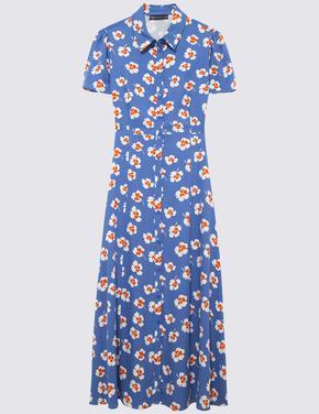 Kadın Mavi Çiçek Deseni Midi Gömlek Elbise