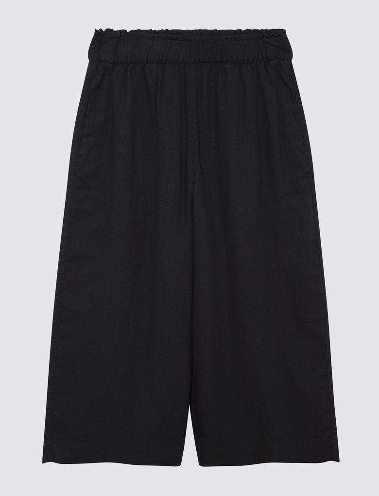 Kadın Siyah Wide Leg Crop Pantolon