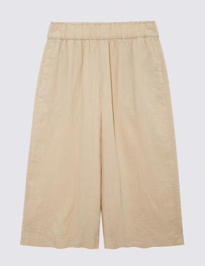 Kadın Bej Wide Leg Crop Pantolon