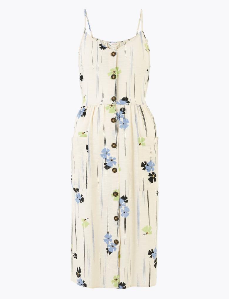 Krem Saf Pamuklu Çiçek Desenli Midi Elbise