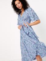 Mavi Desenli Anvelop Midi Elbise