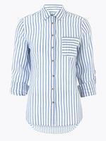 Kadın Mavi Saf Pamuklu Çizgili Gömlek
