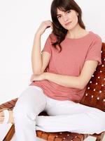 Kadın Pembe Keten Relaxed Fit T-Shirt
