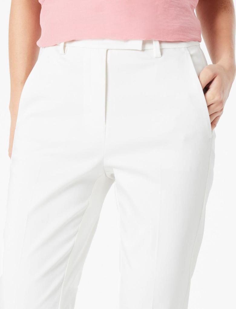 Kadın Beyaz Mia Slim Crop Pantolon