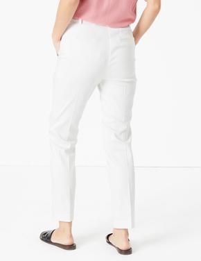 Kadın Beyaz Mia Slim 7/8 Pantolon