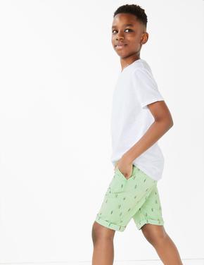 Erkek Çocuk Yeşil Pamuklu Chino Şort