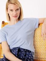 Kadın Mavi Keten Relaxed Fit T-Shirt