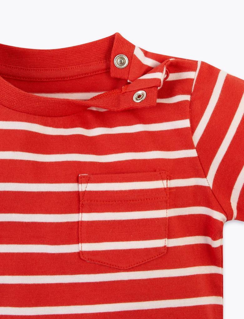 Bebek Kırmızı Çizgili Üst ve Alt Takımı