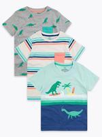 Erkek Çocuk Multi Renk 3'lü Dinozor Desenli T-Shirt