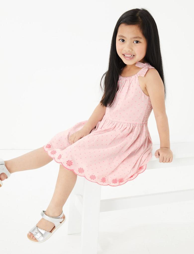 Kız Çocuk Pembe İşlemeli Elbise