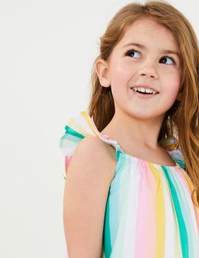 Kız Çocuk Multi Renk Çizgili Elbise