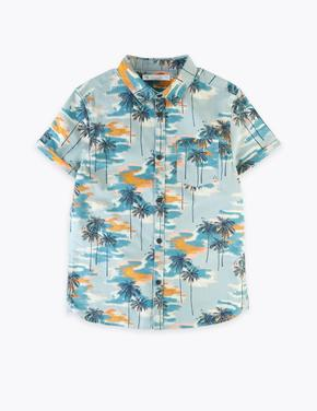 Erkek Çocuk Multi Renk Palmiye Ağacı Desenli Kısa Kollu Gömlek